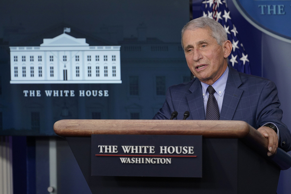 Dr. Anthony Fauci, director of the National Institute for Allergy and Infectious Diseases, speaks during a news conference