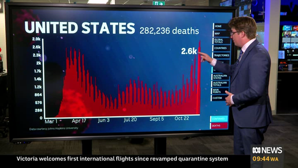 Casey Briggs stands in front of a screen with a red bar chart that shows the US death numbers