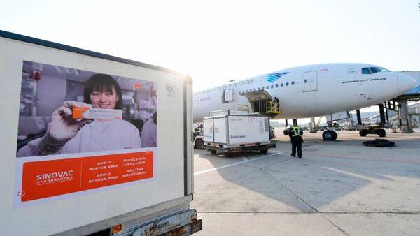 A plane is shown behind an advert for SINVAC
