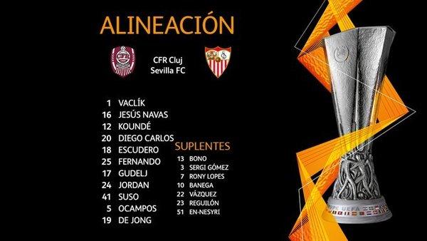Así ha anunciado el Sevilla su once ante el Cluj