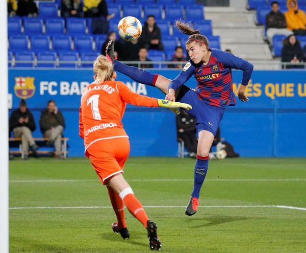 Acción ofensiva del Barça en la primera parte