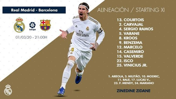 Once del Real Madrid ante el FC Barcelona FOTO: TWITTER REAL MADRID