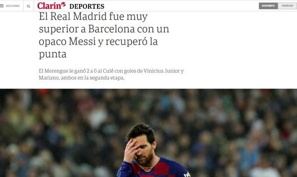 La edición digital del diario Clarín destaca el triunfo del Madrid ante el Barça con un opaco Messi