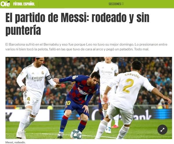 Captura de la edición digital del diario Olé