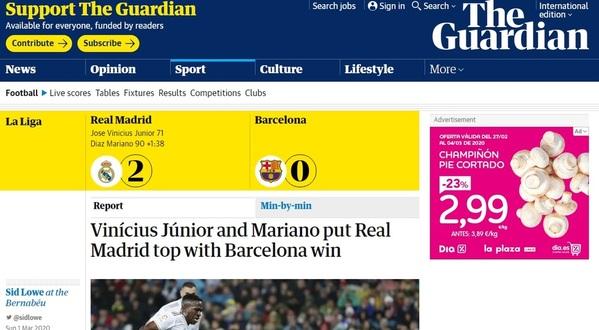 Captura de la edición digital del 'The Guardian' hablando del Clásico