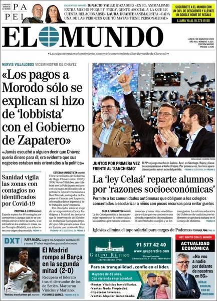 Portada del diario 'El Mundo'