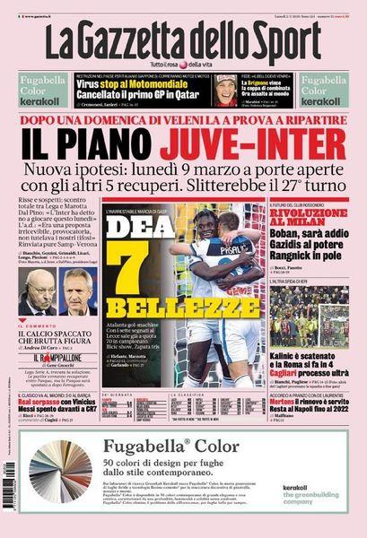 Portada del diario 'La Gazzetta dello Sport'