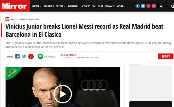Mirror, en su edición digital, también destaca el triunfo del Madrid en el Clásico