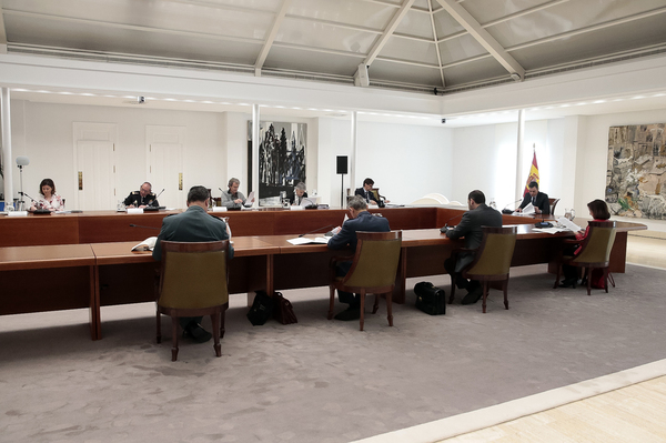 Imagen de la reunión del Comité Técnico en Moncloa, presidido por Pedro Sánchez (foto: Moncloa).