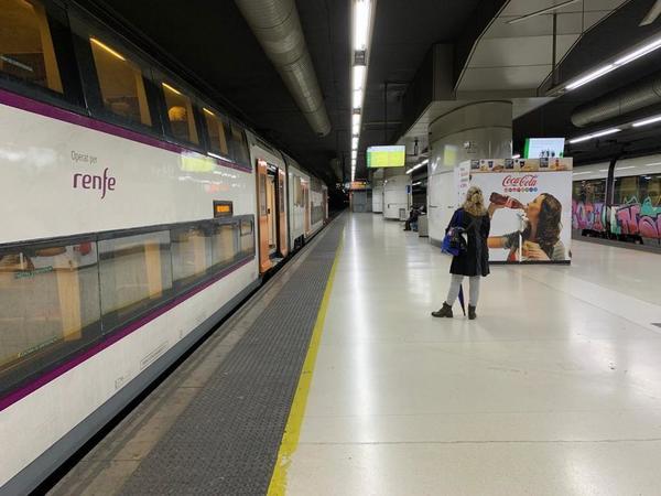 La Estación de Sants, prácticamente vacía.