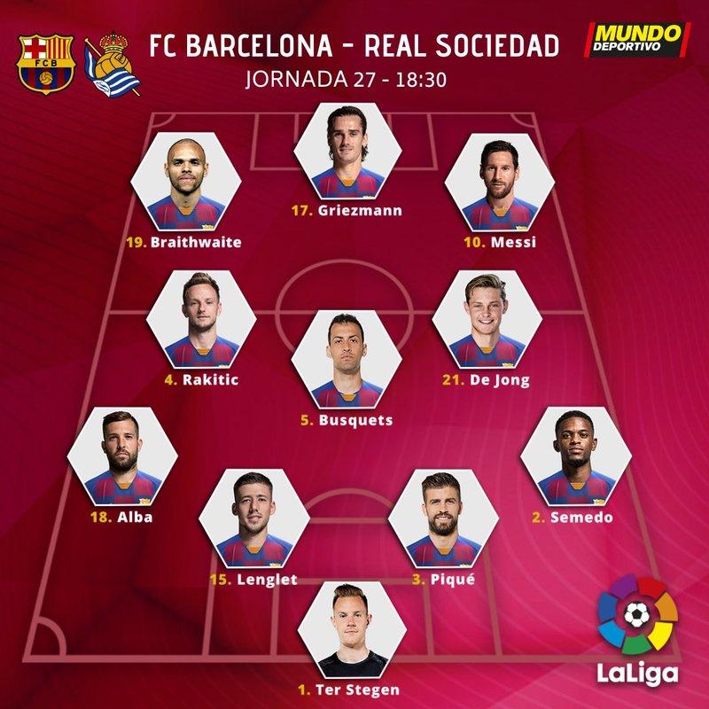El once del Barça para enfrentarse a la Real Sociedad