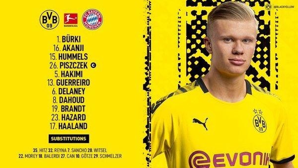 Así ha anunciado el Borussia Dortmund su once inicial.