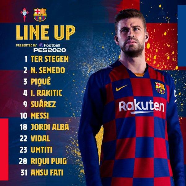El once del Barça en su cuenta de twitter