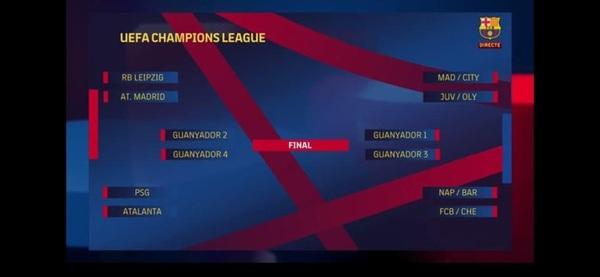 Así queda el cuadro de la Champions hasta la final FOTO: CAPTURA BARÇA TV