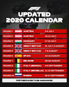 Así es el calendario provisional de la F1 en 2020 tras añadir dos nuevas citas (@F1)