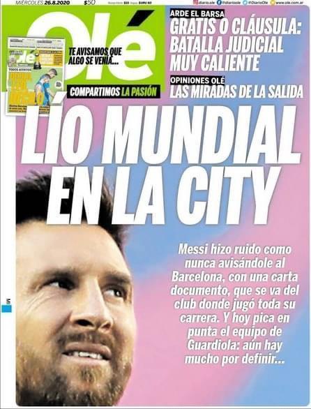 La portada de Olé sobre el 'caso Messi'
