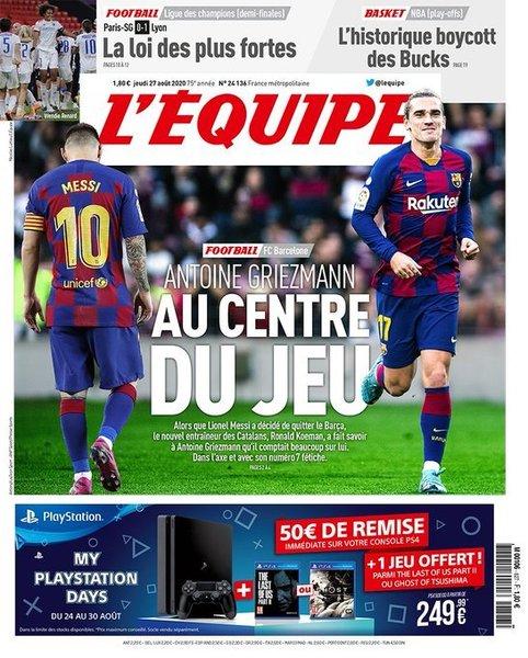 Portada de L'Équipe de hoy