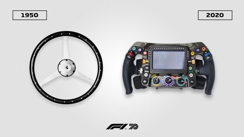 Vaya si han cambiado los volantes de los monoplazas de F1 en 70 años...