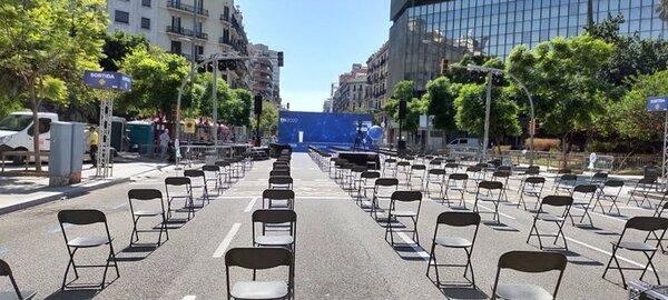 La Pl. Doctor Letamendi, donde a las 17:15 se llevará a cabo el acto central de la Assamblea Nacional Catalana. (Twitter: @kitradio)