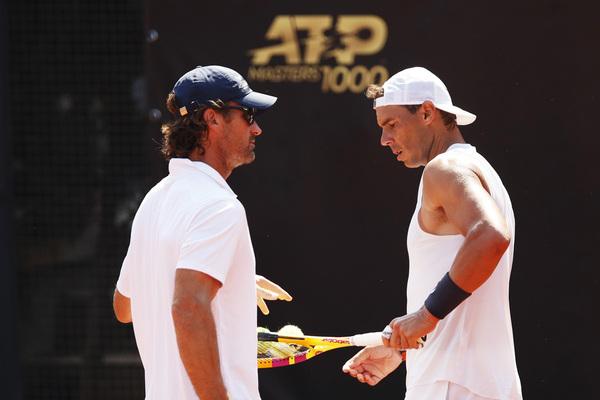 Rafa Nadal reside en la burbuja del torneo de Roma con su entrenador Carlos Moyà y su fisioterapeuta Rafa Maymó FOTO: GETTY