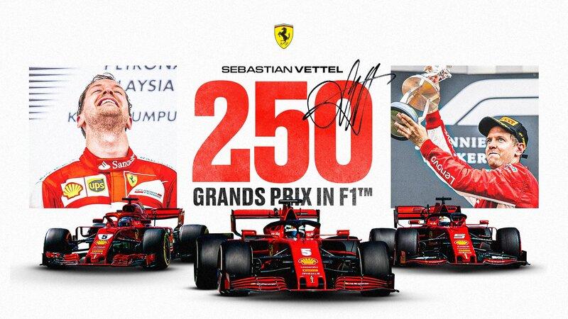 Más números redondos para la carrera de hoy: Sebastian Vettel disputa su GP número 250. (@ScuderiaFerrari)