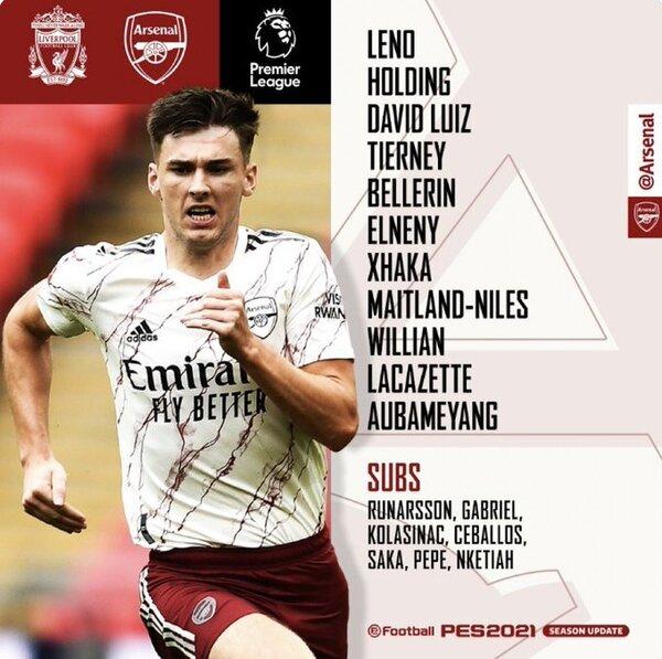 La alineación del Arsenal