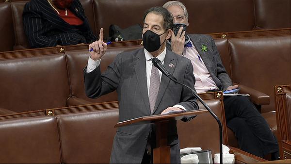 Representative Jamie Raskin talks in the House