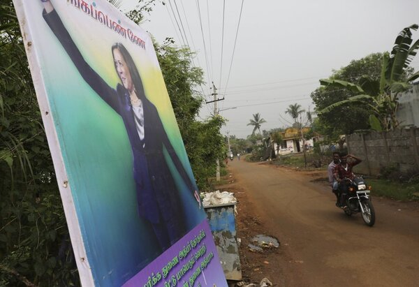 A banner message wishing Kamala the best.
