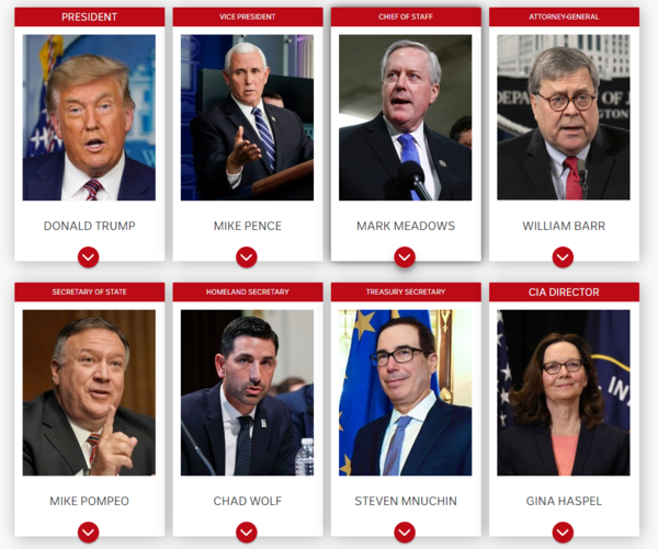 A card with Donald Trump's White House team