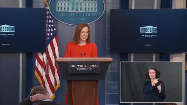 White House Press Secretary Jen Psaki in the press briefing room