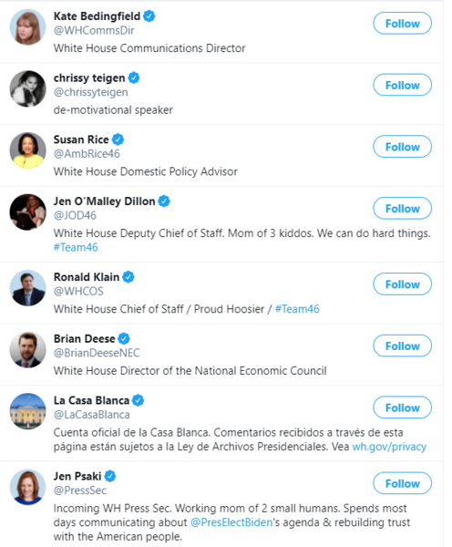 A screenshot shows a list of Twitter accounts including White House Comms Director Kate Bedingfield, Chrissy Teigen, Susan Rice, White House deputy chief of staff Jen O'Malley Dillon, White House chief of staff Ronald Klain, White House director of national economic council Brian Deese, LaCasaBlanca, and White House Press Secretary Jen Psaki