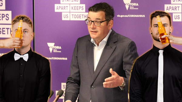 Daniel Andrews superimposed with Mashd N Kutcher, with hands holding out beers in front of their faces