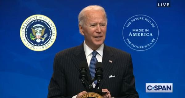 President Joe Biden speaks to the media