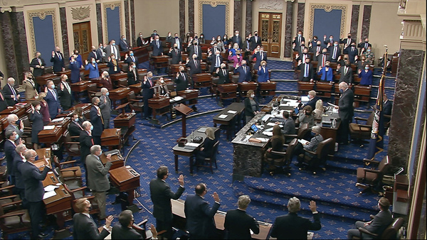 The US senate sits as a court of impeachment