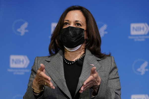 Vice President Kamala Harris speaks to the media