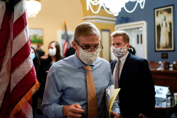 Rep. Jim Jordan (R-OH) departs after a meeting of the House Rules Committee as House Democrats draft an article of impeachment against U.S. President Donald Trump