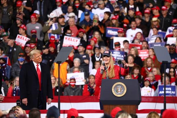 Senator Kelly Loeffler addresses a crowd as U.S. President Donald Trump hosts a campaign event with U.S. Republican Senators David Perdue and Loeffler