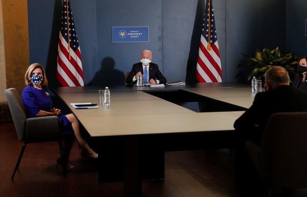 U.S. President-elect Joe Biden and Vice-President-elect Senator Kamala Harris meet with Speaker of the House Nancy Pelosi (D-CA)