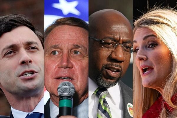 The four candidates at the 2021 Georgia runoff elections — Jon Ossoff, David Perdue, Raphael Warnock and Kelly Loeffler