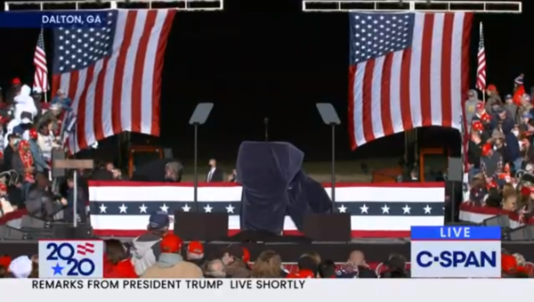 A rally stage at a Donald Trump rally