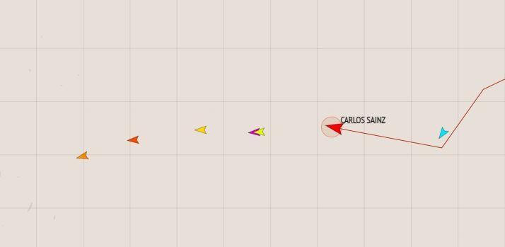 Así va la carrera desde el GPS. Sainz es el punto rojo, ganando terreno al perseguir la traza del resto