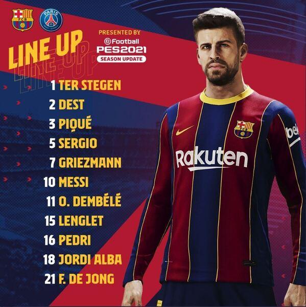 Once del Barça ante el PSG FOTO: FCB
