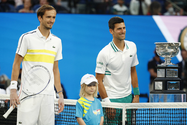 Daniil Medvedev y Novak Djokovic, imagen antes de la final FOTO: GETTY