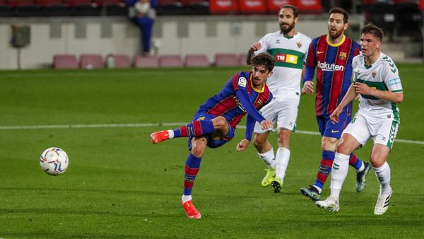 Trincao tuvo la mejor ocasión del Barça en la primera parte FOTO: AP