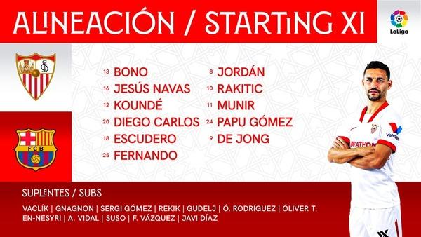 El once del Sevilla en el twitter del club
