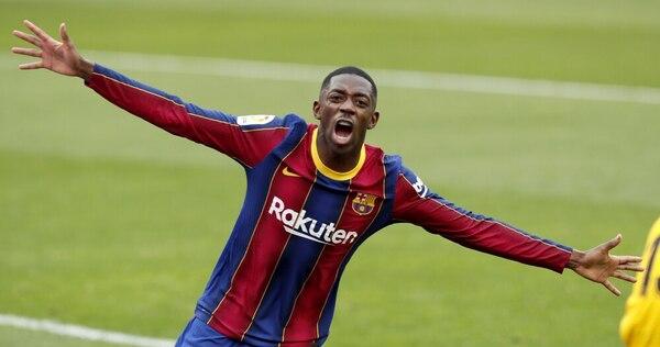 Así ha celebrado Dembélé su gol FOTO: EFE