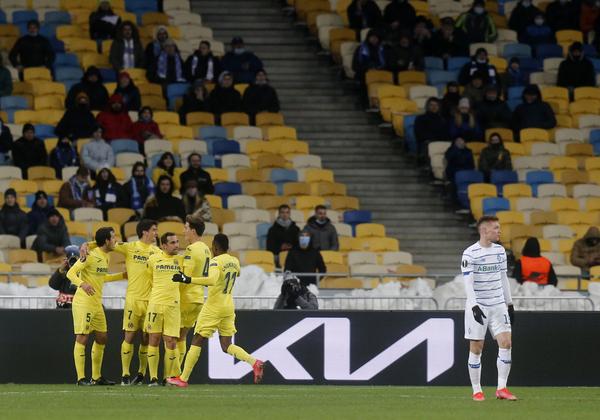 Así celebraron los jugadores del Villarreal el gol de Pau Torres Foto: AP