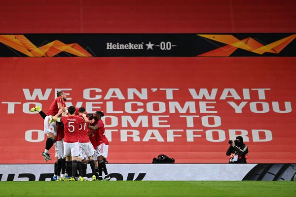 Así celebraron los jugadores del United el gol de Diallo Foto: Getty