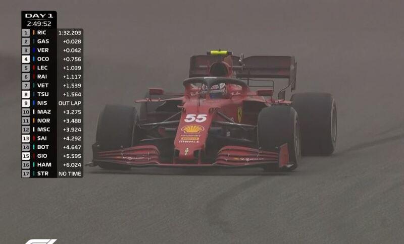 Carlos Sainz, con el Ferrari
