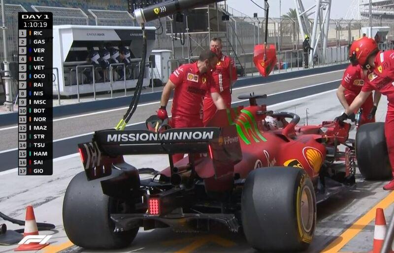 La parte trasera del Ferrari